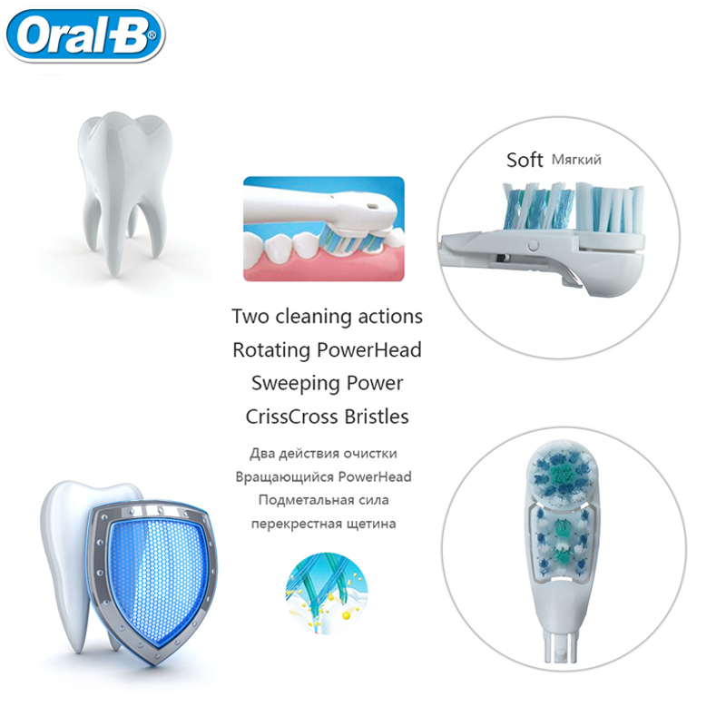 Oral B Electric Toothbrush for Adults Toothbrush Cross Action Teeth Brush Battery Teeth Whitening Brush with Replacement