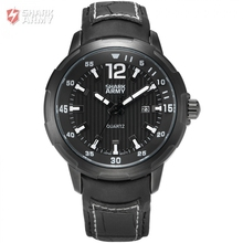 AVENGER Shark Army Luxury Brand Men Sporting Watch Male Clock Auto Date Display Black Leather Strap
