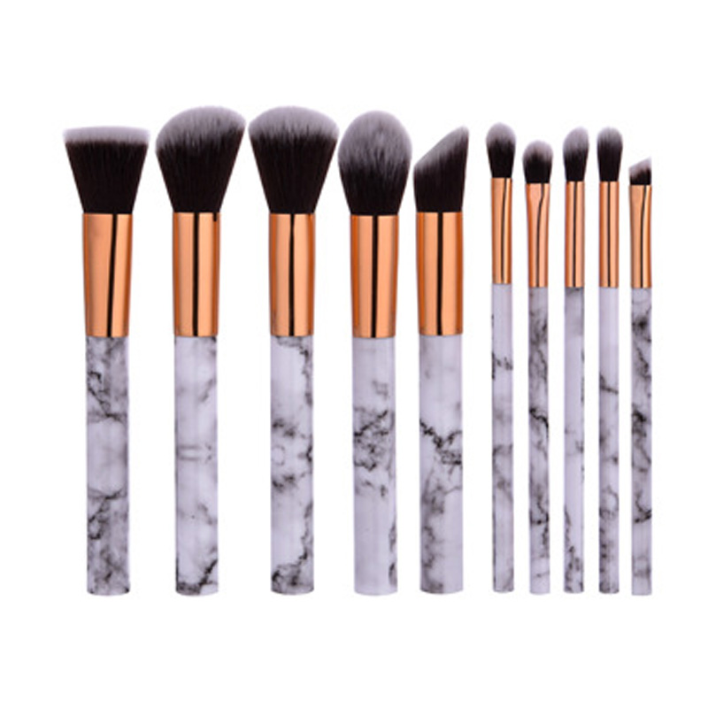10pcs Makeup Brushes Marble Handle Cosmetic Foundation Powder Concealer Eye Shadow Brush Professional Make Up Tools Kit (OS0623) 8pcs rose gold makeup brushes eye shadow powder blush foundation brush 2pc sponge puff make up brushes pincel maquiagem cosmetic