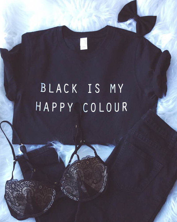 OKOUFEN Black Is My Happy Colour Tshirt crewneck tumblr tees tops summer  hipster outfits graphic short sleeve clothing hot sale