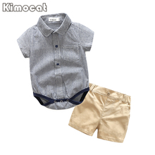 Kimocat Brand Baby Boy Clothes 2 Pcs Infant Jumpsuit Short Sleeve Summer Baby Clothing Set Summer Boy(China)