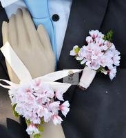 Handmade New Wedding Corsage Groom Boutonniere Bride Bridesmaid Wrist Flower Artificial cherry Flowers Wedding Supplies 3 Colors