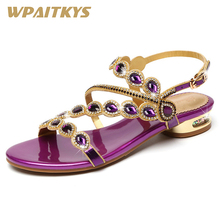 2018 Simple Style Rhinestone High-heeled Shoes Woman Fashion Crystal Womens Purple Blue Golden Three Colors Available