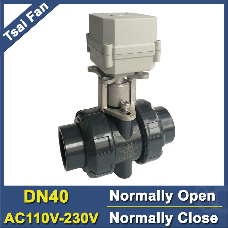 PVC 1-1/2'' Normal Close Valve Normally Open Valve AC110V-230V 2 Way DN40 Actuated Valve 10NM On/Off 15 Sec Metal Gear CE IP67 ac 250v 20a normal close 60c temperature control switch bimetal thermostat