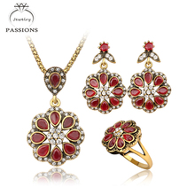 New Vintage Jewelry Sets Antique Gold Color Flower Pendant Necklace Drop Earrings Big Ring Red Rhinestone Necklace Jewelry Sets