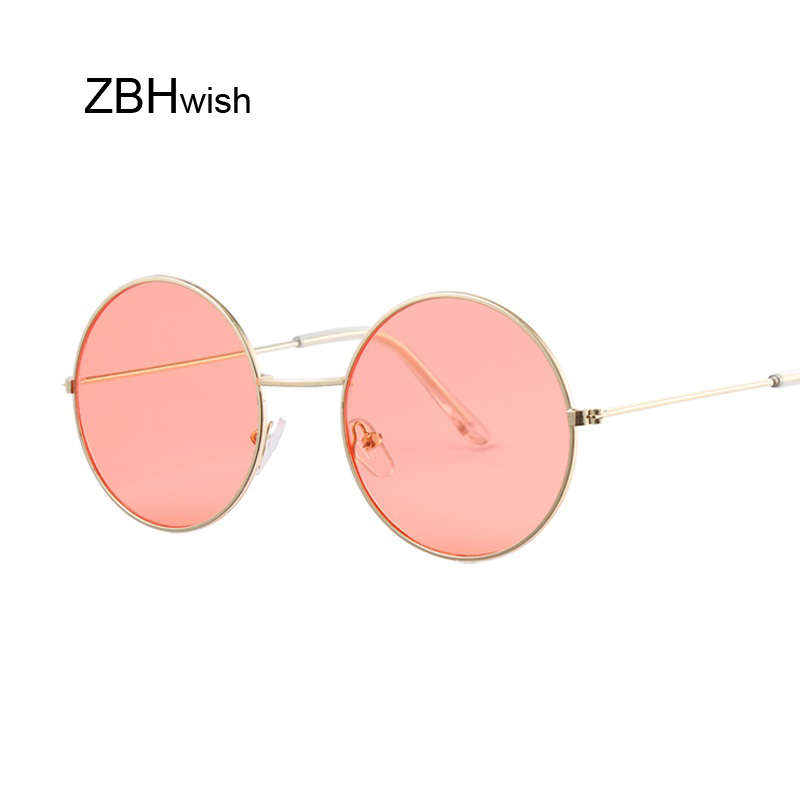 Mode bleu rond lunettes de soleil femmes marque Designer luxe lunettes de soleil pour les femmes Cool rétro femme lunettes de soleil Oculos Gafas