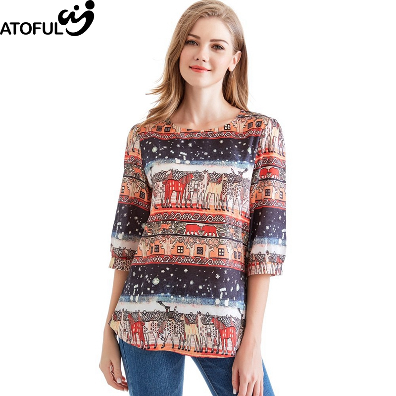 ATOFUL Women T-shirt Vinage Print Cotton & Linen Loose T-shirts 2018 Casual Ladies O Neck Half Sleeve Summer T Shirt Female Tops