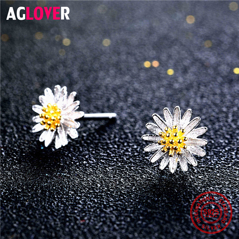 925 Sterling Silver Daisy Flower Stud Earrings Romantic Gift for Women Girls Gift 2018 Newest Fashion Jewelry in Earrings from Jewelry Accessories