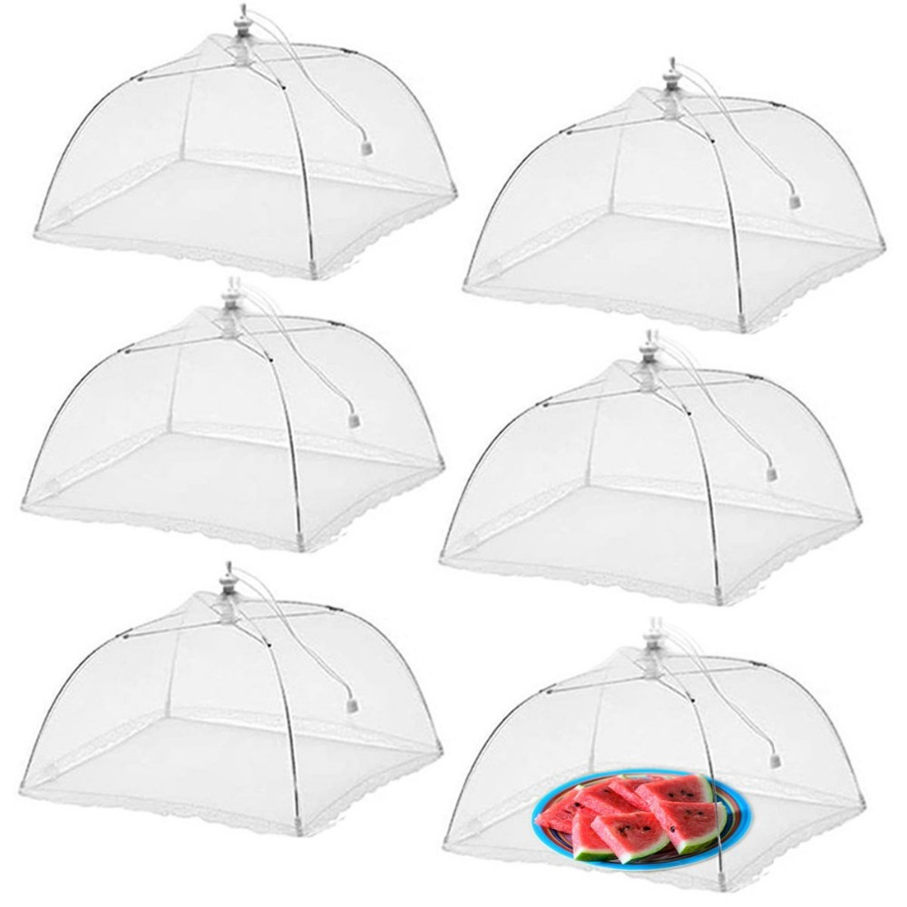 6pcs/lot Large and Tall 17x17 Pop-Up Mesh Food Covers Tent Umbrella for Bugs, Parties Picnics, <font><b>BBQs</b></font>, Reusable and Collapsible