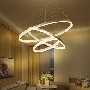 Image 3 - 40 سنتيمتر 100 سنتيمتر خواتم fashional أدى الثريات الحديثة لغرفة الطعام غرفة diy شنقا الإضاءة دائرة خواتم داخلي الإضاءة