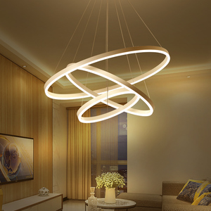 Image 3 - 40/60/80CM Rings Fashional Modern LED chandeliers for Living Dining room DIY Hanging Lighting circle rings for indoor lighting