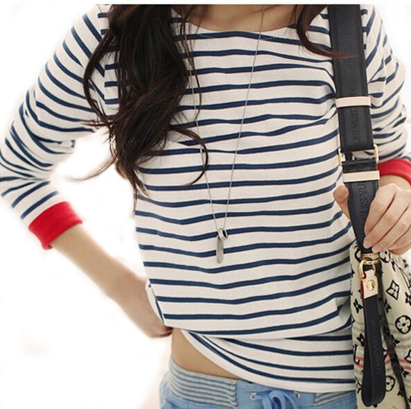 Windreama high quality fashion new navy style t shirt for Black and white striped long sleeve shirt women