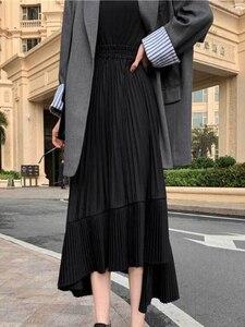 Image 5 - 2020 jesień nowy nabytek koreańska nieregularna spódnica słodki plisowany szyfon spódnica Faldas Largas Elegantes czarne spódnice darmowa wysyłka