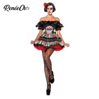 Halloween Costumes For Women Day Of The Dead Doll Costume Scary Lady Skeleton Skull Cosplay Sexy Off The Shoulder Fancy Dress
