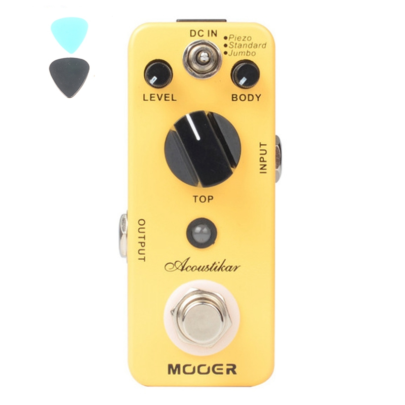 MOOER Acoustikar Acoustic Simulator Guitar Effect Pedal Piezo/Standard/Jumbo 3 Working Modes With True Bypass aroma ac stage acoustic guitar simulator effect pedal aas 3 high sensitive durable top knob volume knob true bypass metal shell
