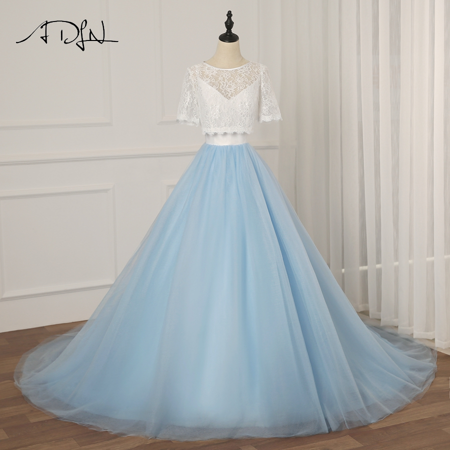 ADLN Contrast Color Wedding Dress With Lace Jacket V Neck