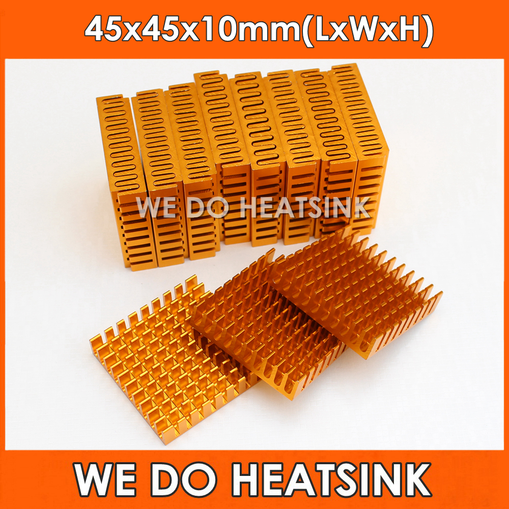 WE DO HEATSINK 2pcs 45*45*10mm Heatsink Cooling Fin Aluminum Heat Sink Radiator Cooler for LED, Power IC Transistor, PCB 1u server computer copper radiator cooler cooling heatsink for intel lga 2011 active cooling