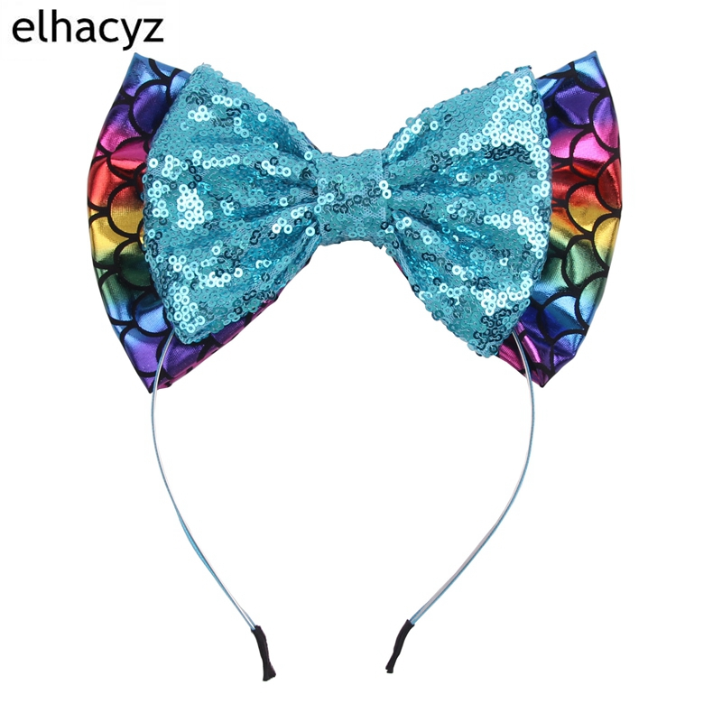 2018 Big Messy Sequin Bow Glitter Metallic Hair Bands Mermaid Headbands Kids rainbow Hair Bows Hairbands Girls Hair Accessories
