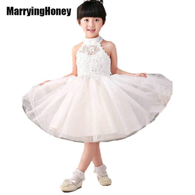 Organza Lace High Neck Flower Girl Dresses White Communion Dress Little  Girls Kids Pageant Gown Wedding Party Children Christmas 444ec8ceeb3b