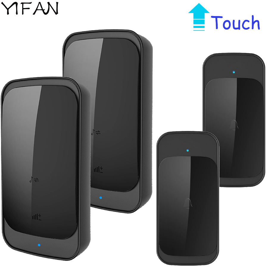 YIFAN Waterproof Touch Wireless Doorbell EU US Plug 280M long range smart Door Bell Chime ring 2 button 2 receiver 110V-220V new restaurant equipment wireless buzzer calling system 25pcs table bell with 4 waiter pager receiver