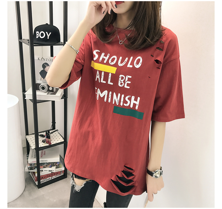 XL- 4XL 2019 new plus size summer loose High Street hole Letter print short sleeve O-Neck women T-shirt top tee TY5 26