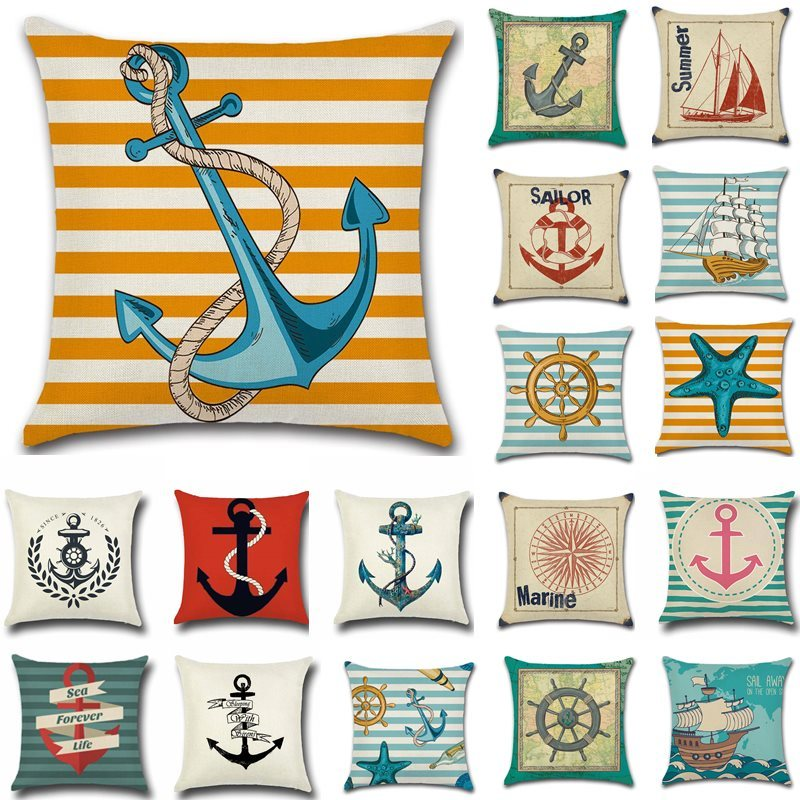 Anchor Boat Starfish Pattern Cotton Linen Throw Pillow Cushion Cover Car Home Decoration Sofa Bed Decorative Pillowcase 40018