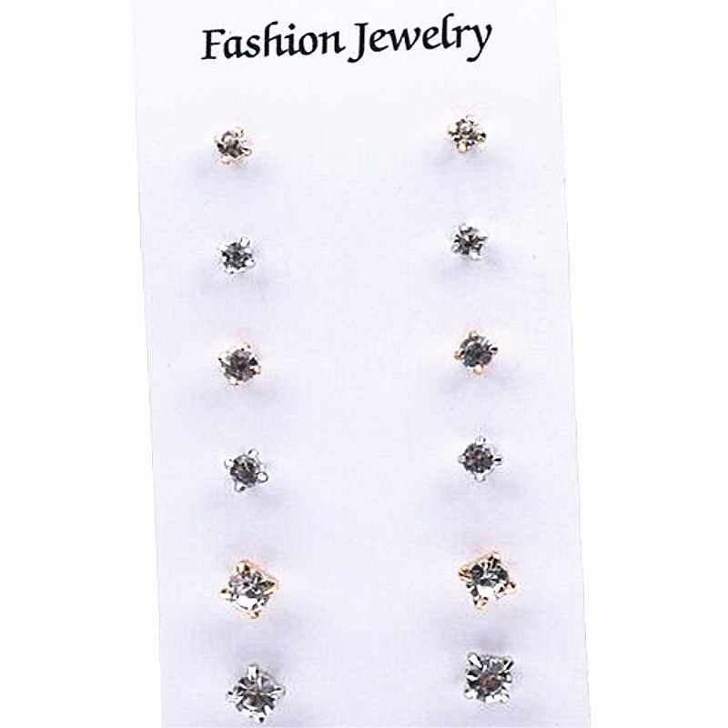 12 Pairs/ Set Crystal Stud Earrings for Women Charm Simple Pearls Earring Jewelry Accessories Gifts Set