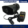 100W 7 Sound Car Electronic Warning Siren Motorcycle Alarm Police Firemen Ambulance Loudspeaker With MIC Police Siren