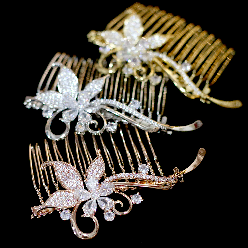 Bride-Hair-Comb Wedding-Hair-Accessories Crystal Fashion-Design Zirconia Luxury European