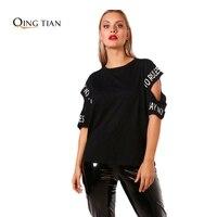 QING TIAN Fashion Women Big Sizes Simple And Casual Letter Printed Black White T Shirt XXXL