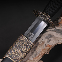 H-quality Chinese Qing Dynasty Sword Straight Blade Fully hand-made Damascus Folded Steel Fully Fine Polished Best collection
