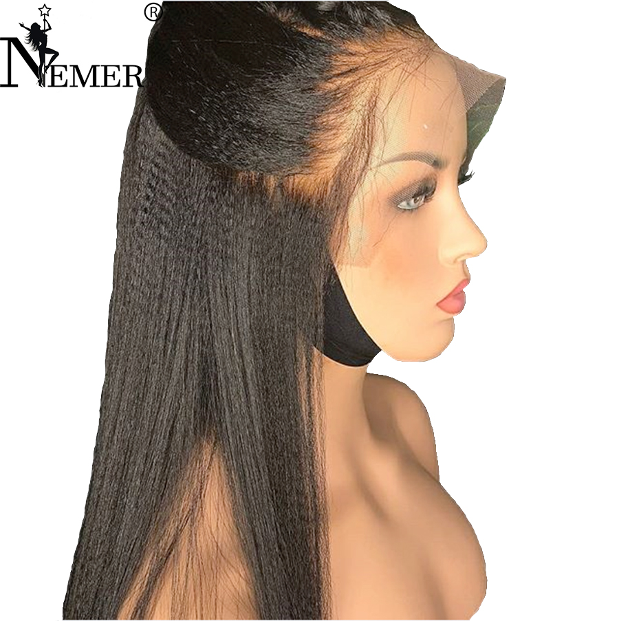 250% Density Yaki Straight 360 Lace Frontal Wigs For Black Women Brazilian Remy Pre Plucked Hairline Lace Front Human Hair Wigs