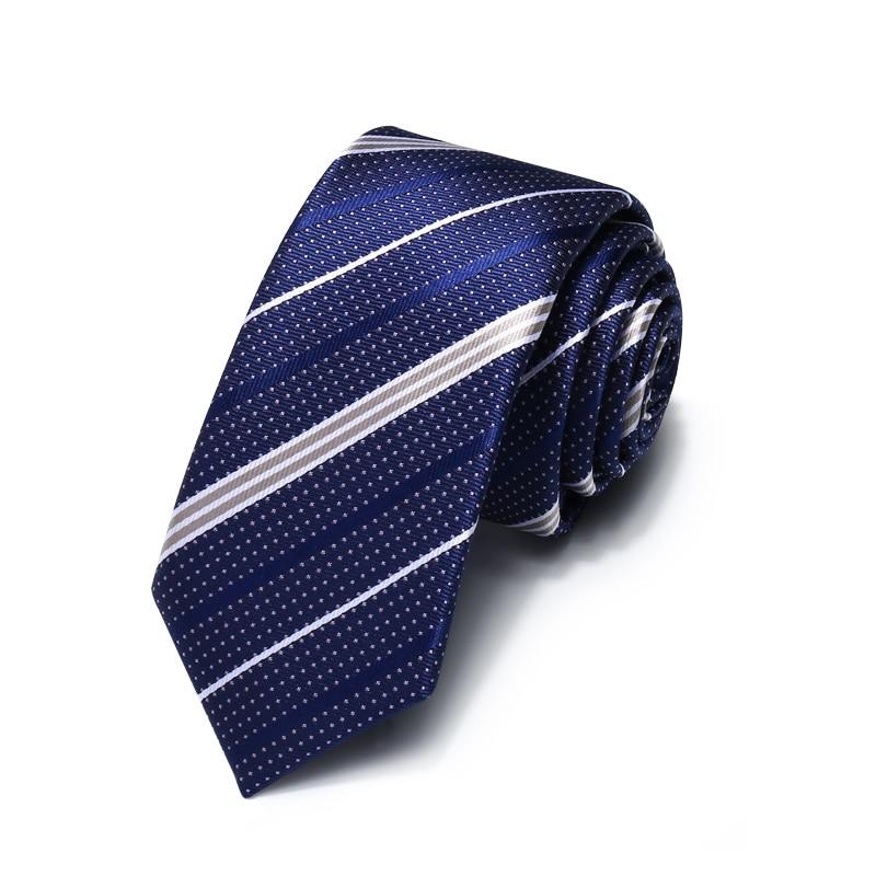 Luxury Business Dark Blue Jacquard Weave Striped Ties for Men 5.5cm Slim Necktie Designer Brand Narrow Mens Tie with Gift Box
