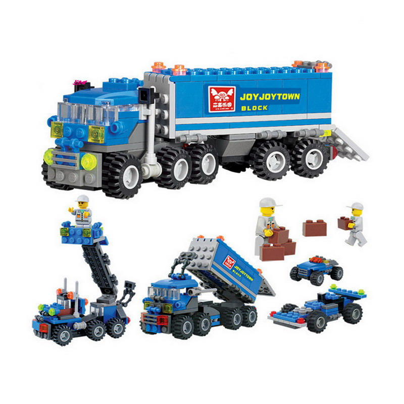 6409 KAZI City Transport Dumper Truck Model Building Blocks Enlighten Construction DIY Figure Toys For Children Compatible Legoe b1600 sluban city police swat patrol car model building blocks classic enlighten diy figure toys for children compatible legoe