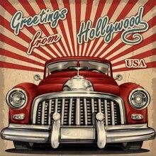 JOHNSON Touristic Red Car Theme Retro Vintage Hollywood Photo Backdrop