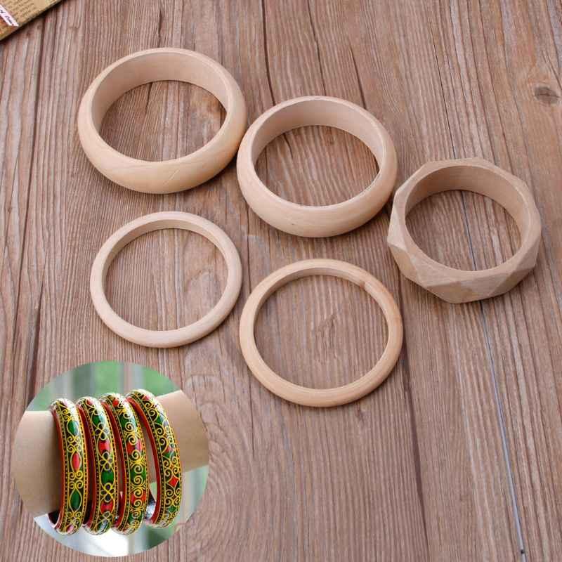عادي الطبيعية لم تنته غير مصبوغ السوار الخشبي سوار لتقوم بها بنفسك فن الخشب والمجوهرات
