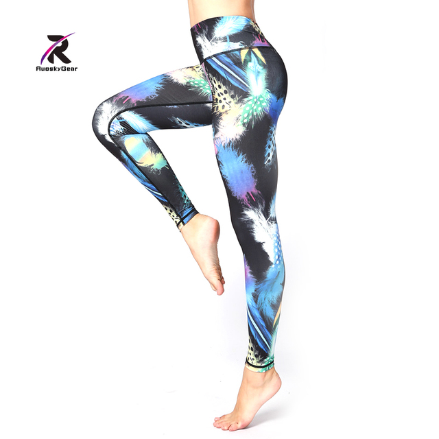 ae128dd1a4 Yoga Pants Women Leggings Running Sports Jogging Tights Yoga Fitness  another clear blue Print Dot Snowflake Pants New Trousers