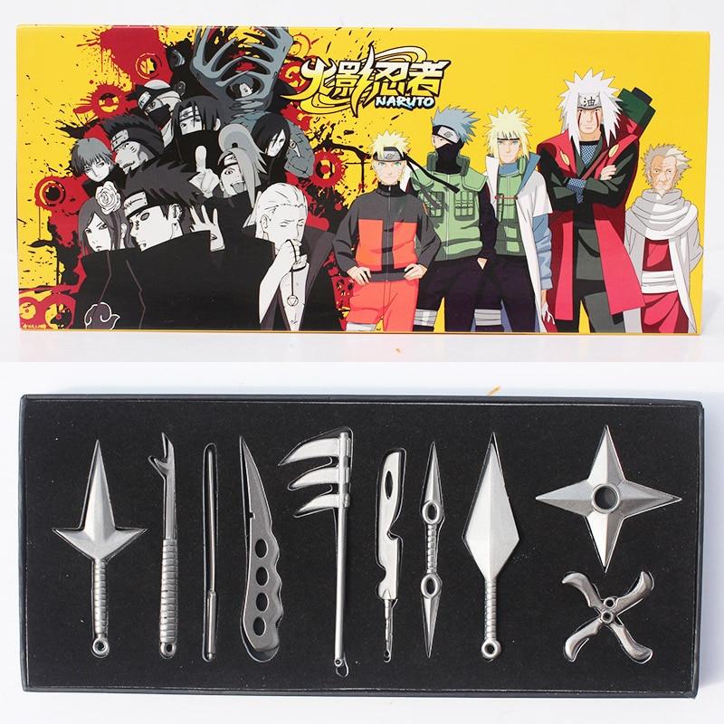 10Pcs/Set NARUTO Hatake Kakashi Deidara Kunai Shuriken Weapons Pendant Naruto Cosplay Figure Toys 8cm Approx Boxed Free Shipping