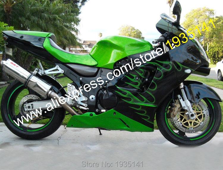 Hot Sales,For Kawasaki Ninja ZX12R 00 01 Parts ZX-12R 2000 2001 ZX 12R Green Flame Motorcycle Fairing Set (Injection molding)