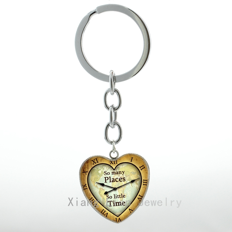 Fashion Traveller jewelry So Many Places So Little Time vintage Travel Quote heart pendant keychain world map key chain ring H64