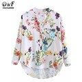 Dotfashion Multicolor V Cuello de la Impresión Floral Superior Blusas Casual 2016 las nuevas Camisas Para Mujer Vogue de Manga Larga Botones Dip Hem blusa