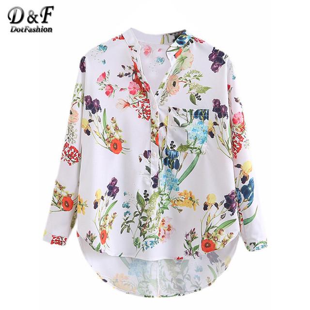 Dotfashion Multicolor V Neck Impressão Floral Tops Blusas Casual 2016 novas Camisas Para Mulheres Vogue Longos Botões Manga Hem Mergulho blusa