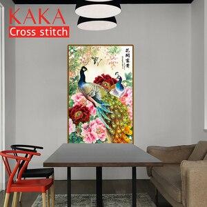 Image 3 - קאקה צלב סטיץ ערכות רקמה רקמה סטים עם מודפס דפוס, 11CT בד, בית תפאורה גן בית, פרחי טווס