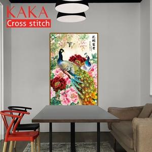Image 3 - KAKA Cross zestaw do szycia zestawy do robótek ręcznych z nadrukowany wzór, płótno 11CT, dekoracja do domu lub ogrodu, kwiaty paw