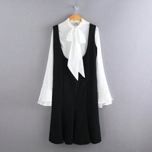 9094- women office dress set Classical white blouse + black dress 2piece lady formal dress casual vestidos OL office dress