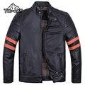 2016 New Cool Black Winter Slim Genuine Leather Jacket Men Windproof Chaquetas Cuero Hombre  Wear Resistant Warm Cowskin Coat