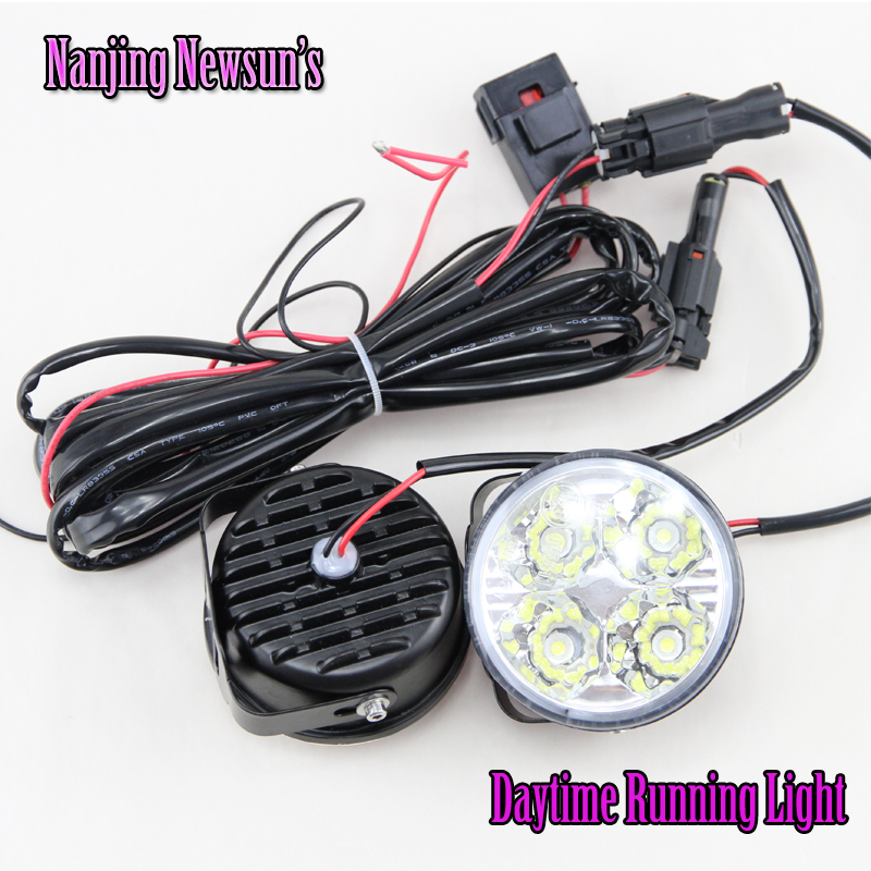 2x Auto Car 4 LED Round DRL Daytime Running Day Driving Bulb Fog Light Lamp 12V 4W Free Shipping auto led car bumper grille drl daytime running light driving fog lamp source bulb for vw volkswagen golf mk4 1997 2006 2pcs