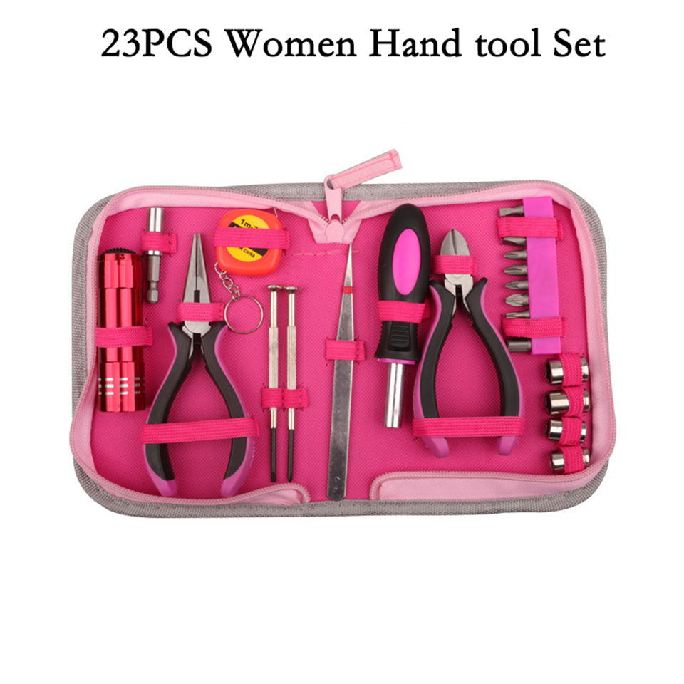 23PCS Household Women Pink Tool Set Drills Pliers Screwdrivers Sockets Combination Home Hand Tools Multifunctional Repair Tools