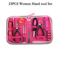 23PCS Household Women Pink Tool Set Drills Pliers Screwdrivers Sockets Combination Home Hand Tools Multifunctional Repair Tools