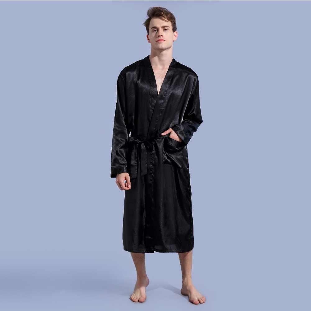 ... Black New Loose Casual Men s Rayon Satin Robe Gown Solid Color Kimono  Yukata Bathrobe Nightwear Sleepwear ... b8623c914